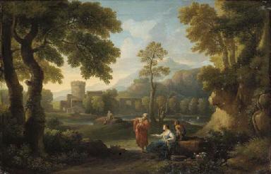 A pastoral landscape with figu