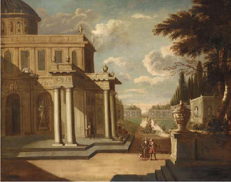 A capriccio view of a walled g
