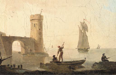 A view of a fishing port; and