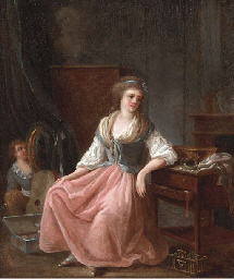 A seated young woman by her dr