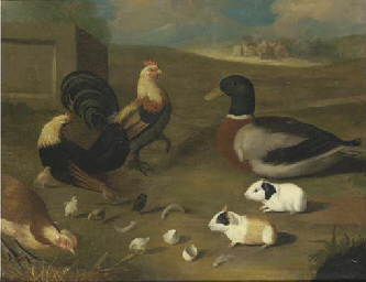 A landscape with a duck, chick