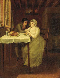 Young lovers in an interior; a