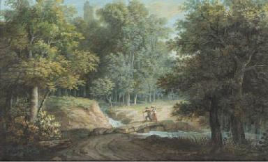 A river landscape with figures