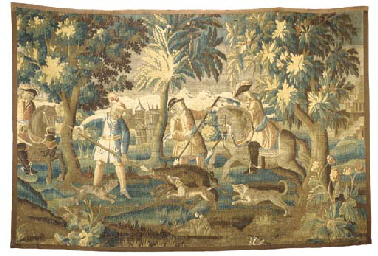 A LOUIS XIV AUBUSSON HUNTING TAPESTRY FRAGMENT