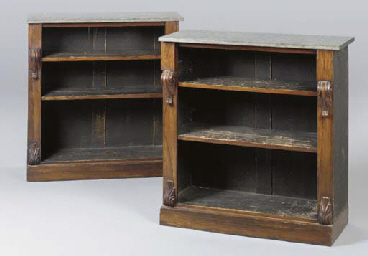 A PAIR OF VICTORIAN ROSEWOOD A