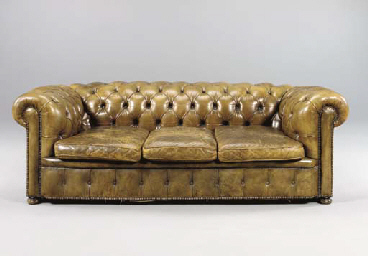 A GREEN LEATHER CHESTERFIELD S