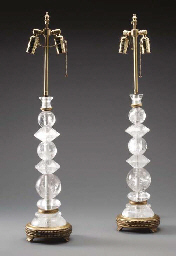 A PAIR OF ROCK CRYSTAL AND GIL