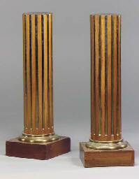 A PAIR OF BRASS-INLAID AND MOU