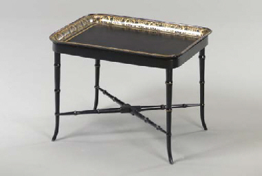 A VICTORIAN BLACK AND GILT PAP