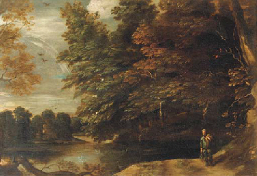 A river landscape with a fishe
