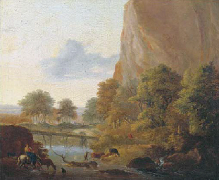 An Italianate landscape with m