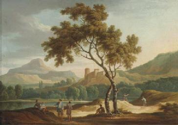 An Italianate river landscape