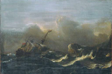 A three-master in a gale off a