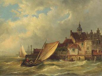 A sailing boat entering a Dutc
