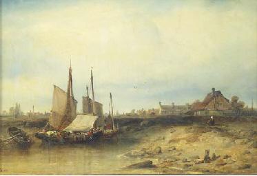 Fishing vessels by a village i