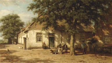 Peasants in a sunlit farmyard