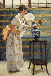 A kimono girl in an artist's s