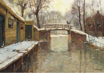 A village in winter with a bri