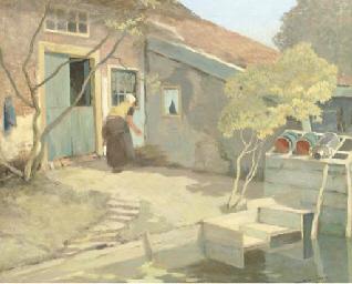 A peasant woman in a farmyard