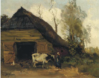 A cowherdess by a shed