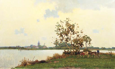 A panoramic landscape with cow