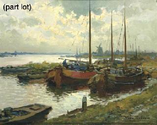 Moored barges at dusk
