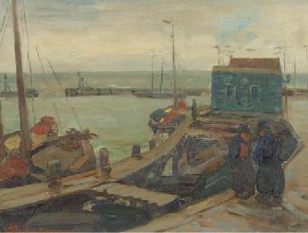 Conversing on the quay