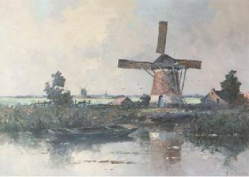 Windmills in a polder landscap