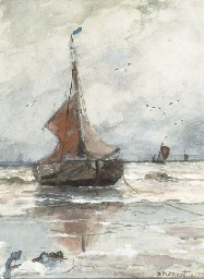 Bomschuit anchored in the surf