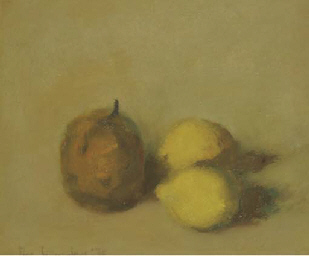 A still life with a pear and t