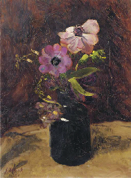 A still life with anemones in