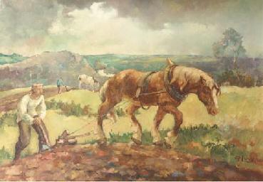 Plough teams in a hilly landsc