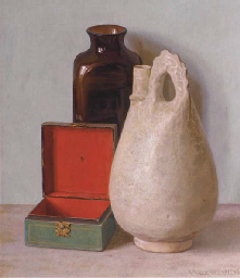 A still life with green box, a