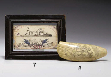 A scrimshaw whales tooth depic