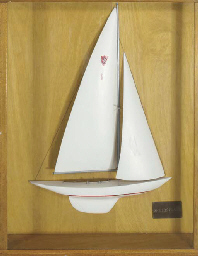 A rigged half model of a Shiel