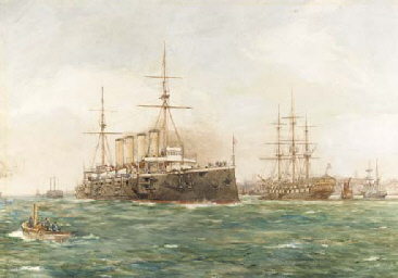 An armoured-cruiser leaving Po