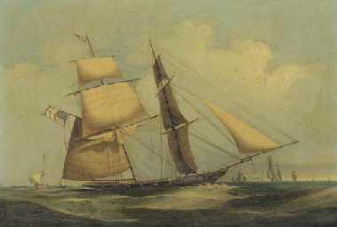 A Naval brig heaving-to in the