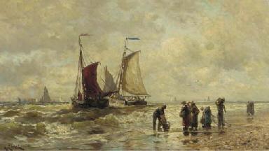 Fisherfolk on the beach at Sch