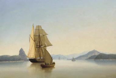 An armed British brig becalmed