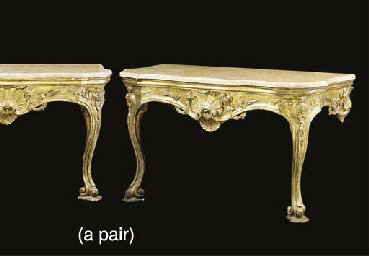 A PAIR OF ITALIAN GILTWOOD MAR