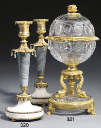 A PAIR OF GILT BRONZE AND MARB