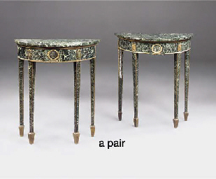 A PAIR OF MARBLE-VENEERED, GIL