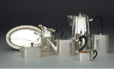 A Seven-Piece Swiss Silver Tea