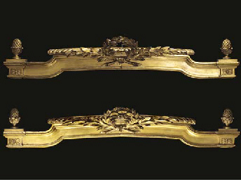 A PAIR OF GILTWOOD PELMETS