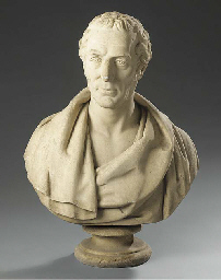 A sculpted marble bust of a ge