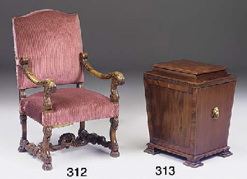 A CARVED WALNUT OPEN ARMCHAIR