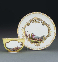 A Meissen yellow-ground teabow