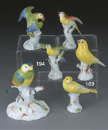 Two Meissen models of canaries