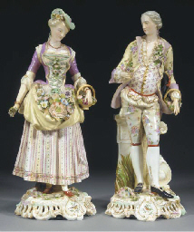 A pair of Meissen-style figure
