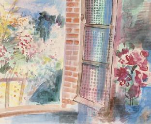 Vu du jardin par la fenêtre